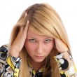 Stock Photo: Young woman with headache
