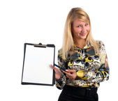 Young stylish woman holding empty frame — Stock Photo