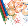 Stock Photo: Sharpened pencils and wood shavings
