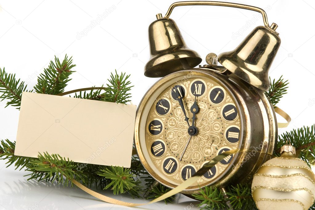 New Year's decoration with an antique clock and a firtree branch and a blank card for your text — Stock Photo #1562510
