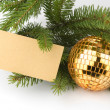 Christmas decoration with blank card — Stock fotografie