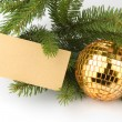 Christmas decoration with blank card - Stockfoto