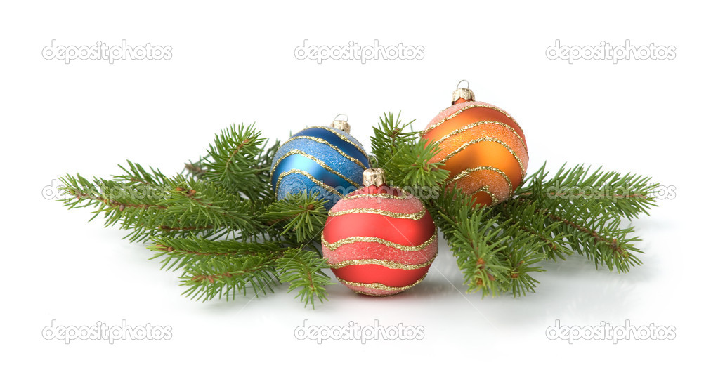 Christmas decoration. christmas balls and brunch of fir tree — Stock Photo #1585635