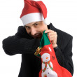 Young men in a santa — Stock Photo