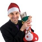 Smiling men in a santa — Stock Photo #1627887