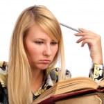 mulher jovem estudante sério — Foto Stock