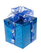 Blue gift box with ribbon — Stock fotografie