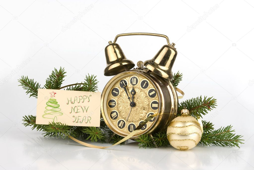 New Year decoration with Antique alarm clock — Foto Stock #1627811