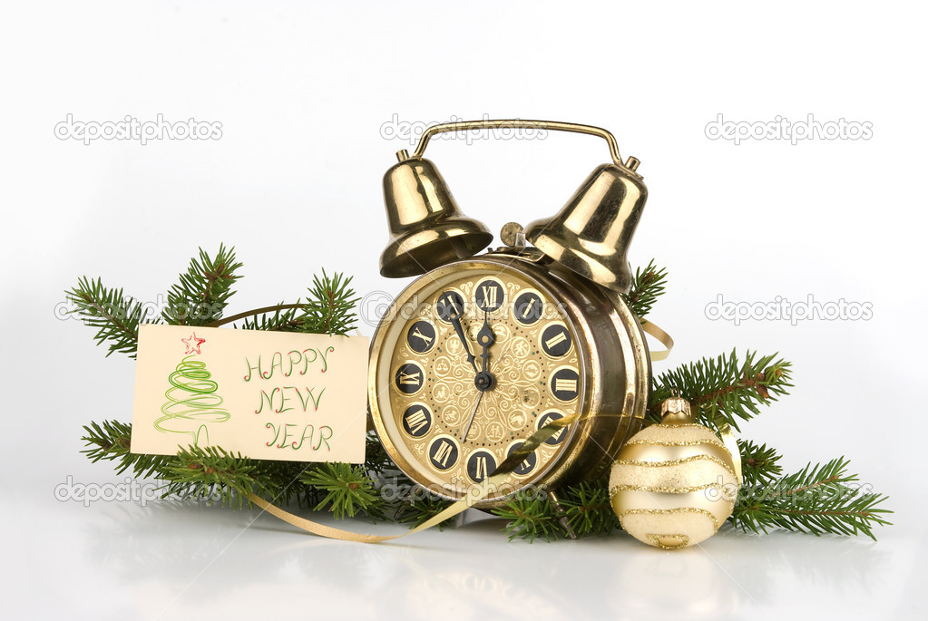 New Year decoration with Antique alarm clock — Stock Photo #1627811