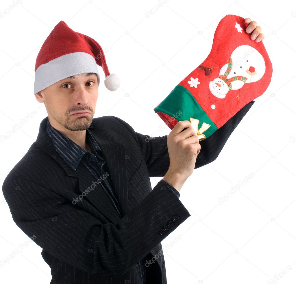 Business man in a christmas hat with a Christmas Stocking — Stock Photo #1627816