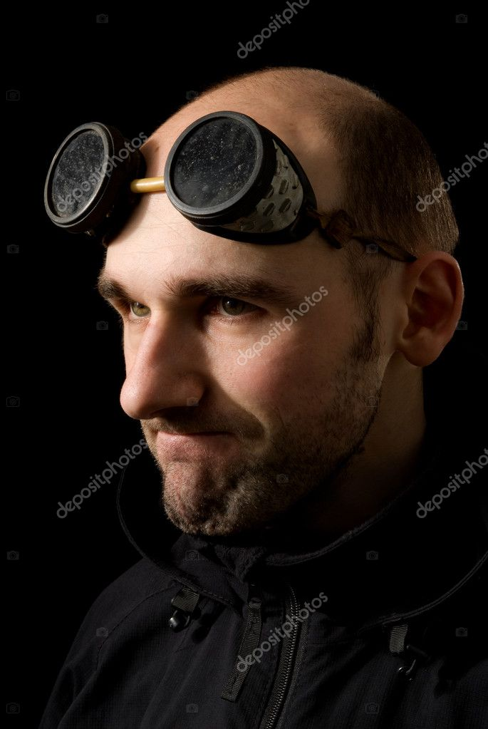 Close up portrait of funny bizarre man  Stock Photo #1635900