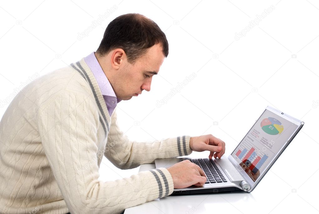 Young businessman using laptop computer  Stock Photo #1705067