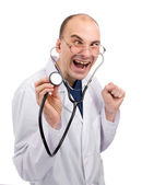 Crazy doctor isolated over white — Stock Photo