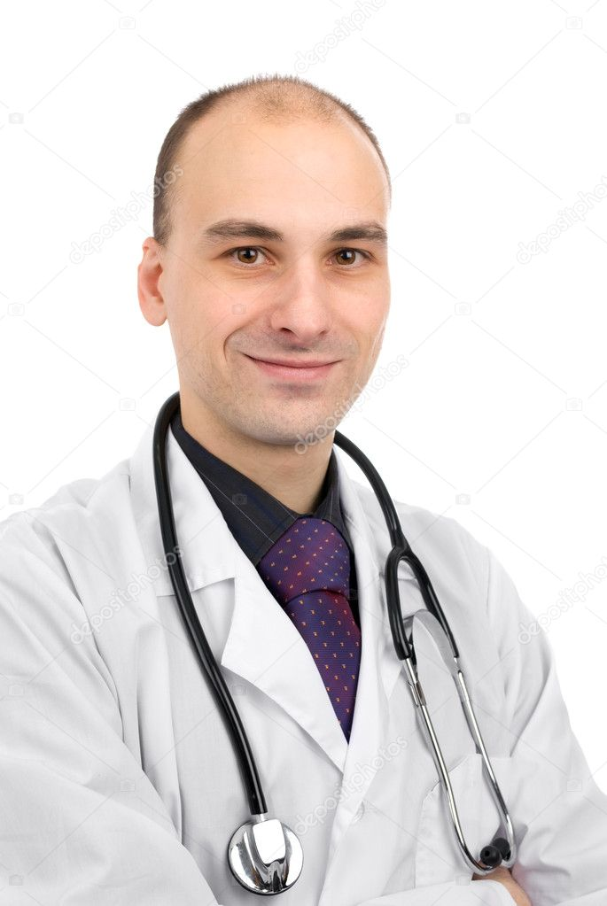Male doctor smiling isolated over a white background — Stock Photo #2034908