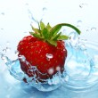 The Strawberries in drop. — Stock Photo