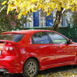 Red car in autumn park - Stock Photo
