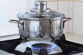 Pan On Kitchen Stove — Stock Photo