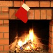 Fireplace With Christmas Stocking — Stockfoto