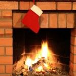 Камин с Рождественский чулок — Стоковое фото