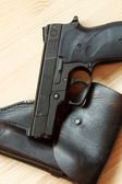 Handgun and holster — Stock Photo