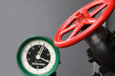 Valve And Pressure Gauge — Stock Photo