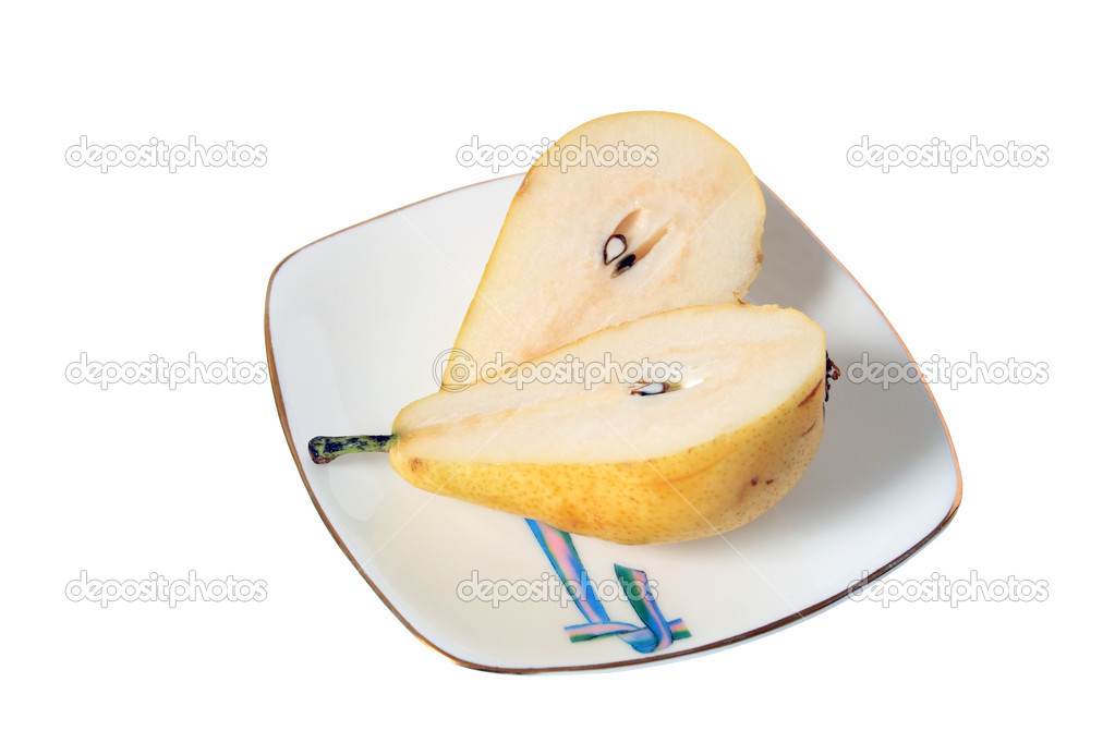 Sliced pear lying on saucer on white background — Stock Photo #1179492