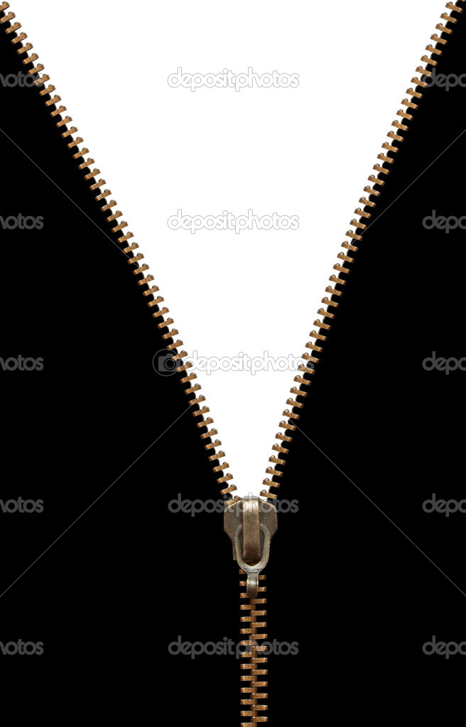 Brass zipper on black and white background. Isolated with clipping  Stock Photo #1393313