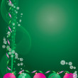 Decorative greetings card green — ストックベクタ