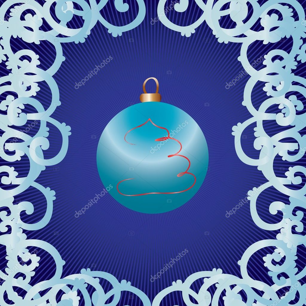 Christmas bauble as greetings card, vector illustration — ベクター素材ストック #1262904