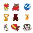 Valentine animals — Stock vektor #1294620