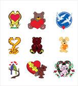 Valentine animals — Stock Vector