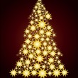 Starry Christmas tree  gold - Stock Vector