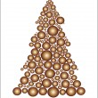 Stock Vector: Golden circle Christmas tree
