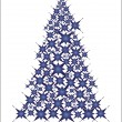 Christmas tree- blue stars - Stock Vector