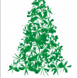 Stock Vector: Green torn Christmas tree