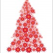 Red Starry Christmas tree - Stock Vector