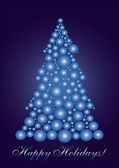 Blue cercle Christmas tree — Stock Vector