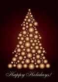 Circle Christmas tree gold — Stock Vector
