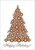 Golden circle Christmas tree — Stock Vector