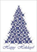 Christmas tree- blue stars — Stock Vector
