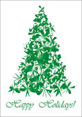 Green torn Christmas tree — Stock Vector