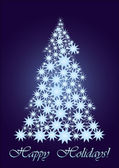 Blue starry Christmas tree — Stock Vector