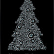 Christm@s tree black&amp;white - Stock Vector