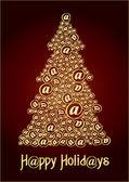 Christm@s tree gold — Stock Vector