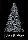Christm@s tree black&white — Stock Vector