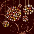 Christmas Baubles golden  card — Imagen vectorial