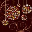 Christmas Baubles golden card — Stock Vector