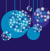 New Year`s blue baubles — Stock Vector