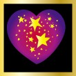 Stars heart on black background — Stock Vector