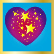 Stars heart on blue background — Stock Vector